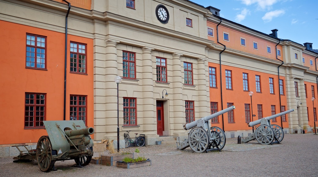 Vaxholm Fortress showing heritage elements and military items