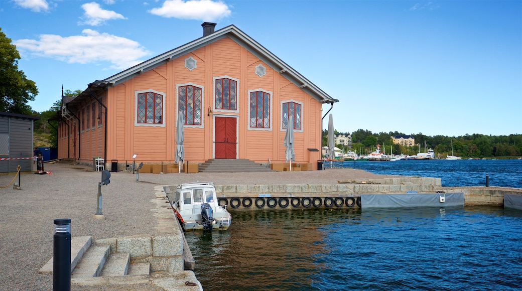Vaxholm Fortress featuring a bay or harbor