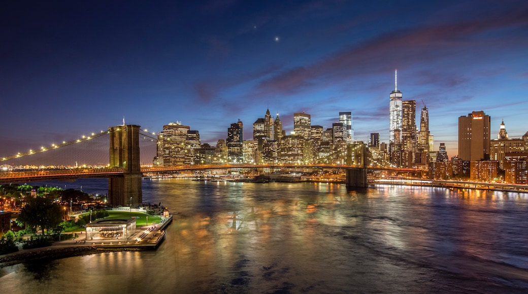 Brooklyn Bridge featuring landscape views, a river or creek and night scenes