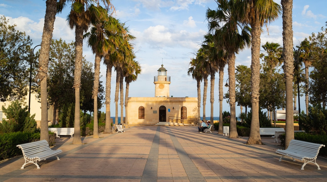 Roquetas de Mar which includes a lighthouse and a coastal town