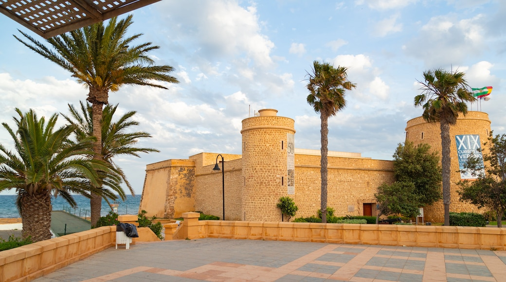 Roquetas de Mar featuring a coastal town and heritage elements