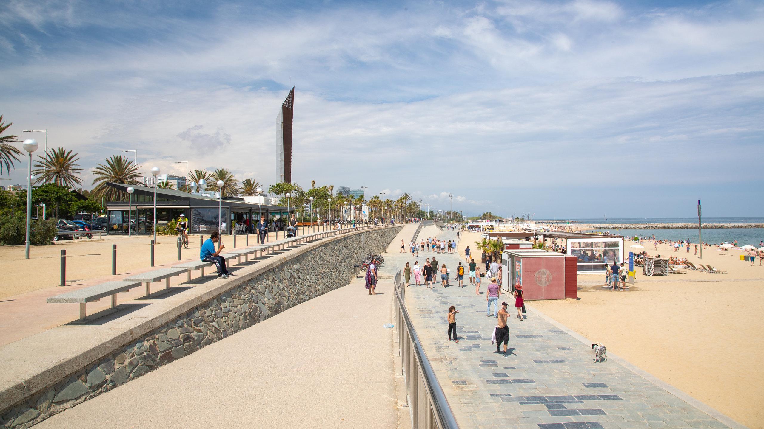 Playa Bogatell, Barcelona, Katalonien, Spanien