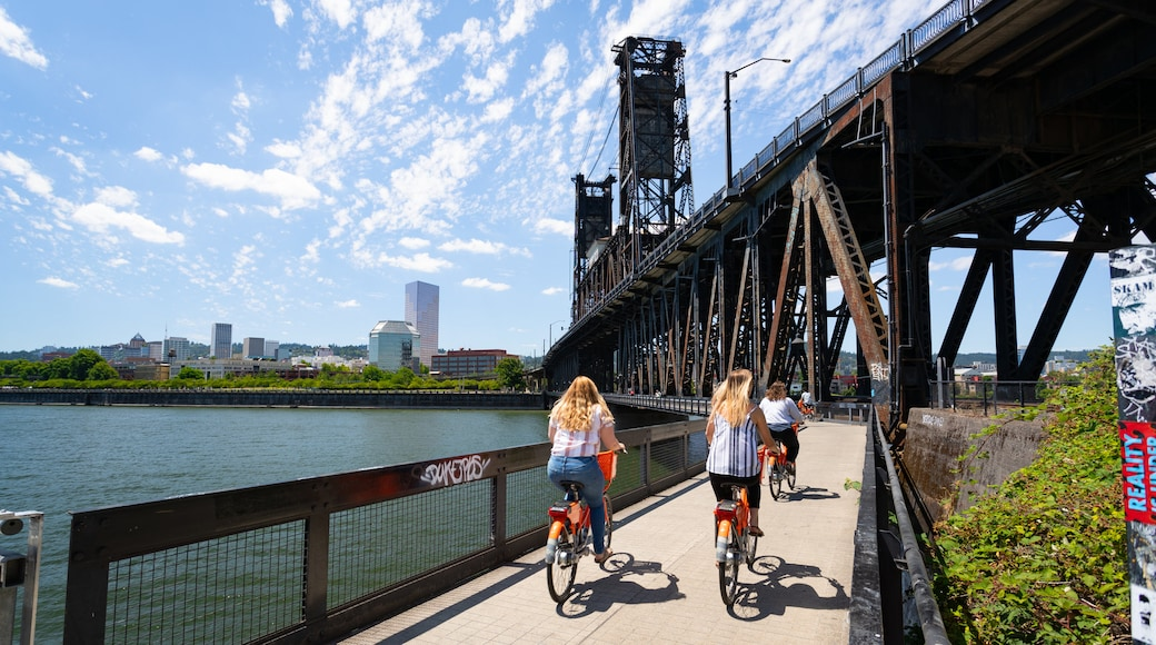 Steel Bridge featuring a bridge, cycling and a river or creek