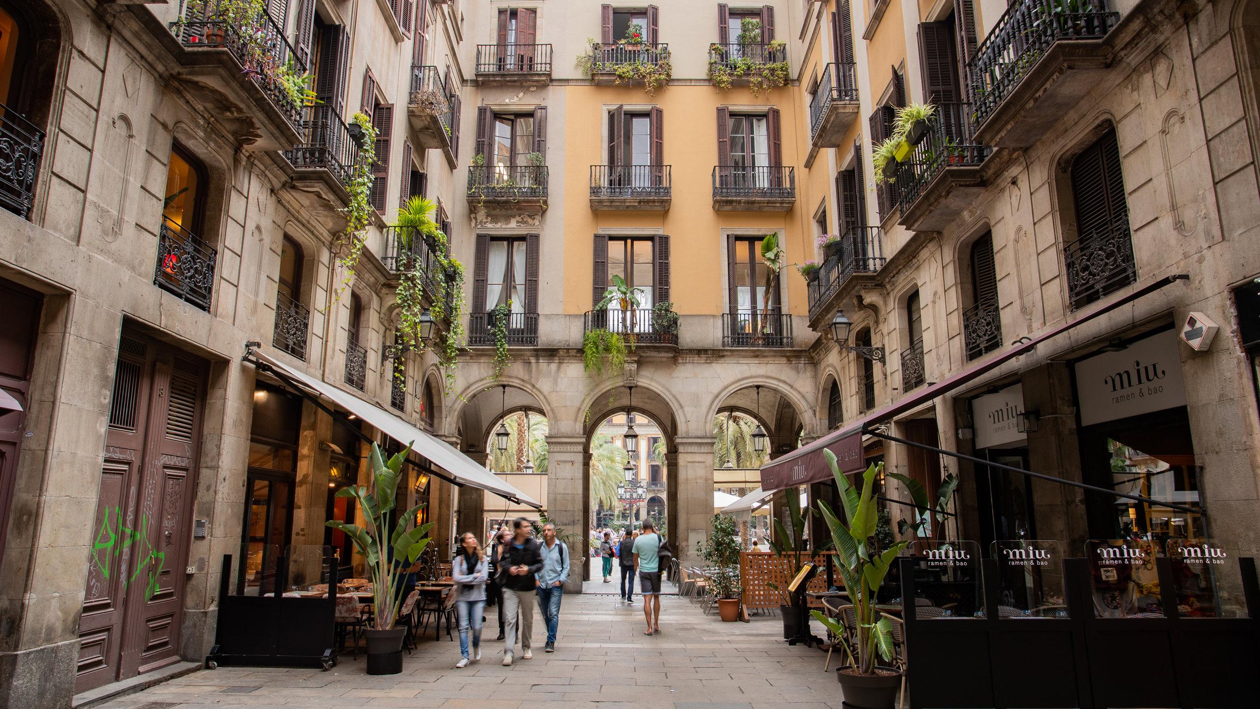 Placa Reial, Barcelona, Katalonien, Spanien