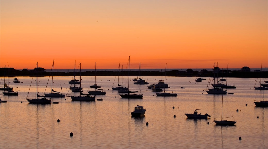 Block Island showing general coastal views, boating and a sunset