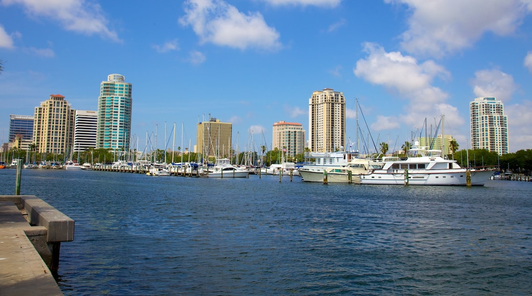Demens Landing Park showing a bay or harbor, a high rise building and skyline