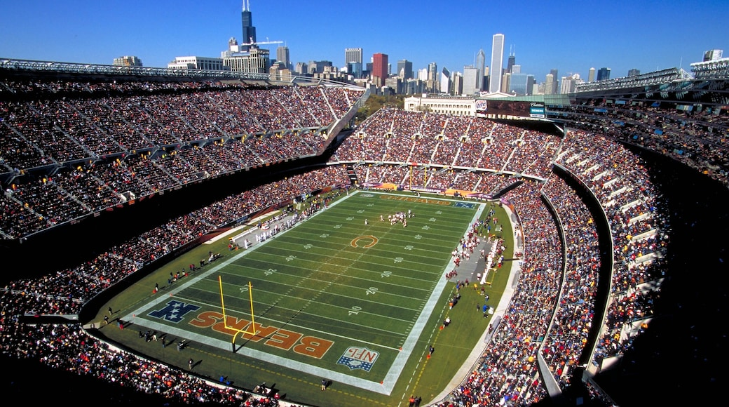 Soldier Field which includes a sporting event as well as a large group of people