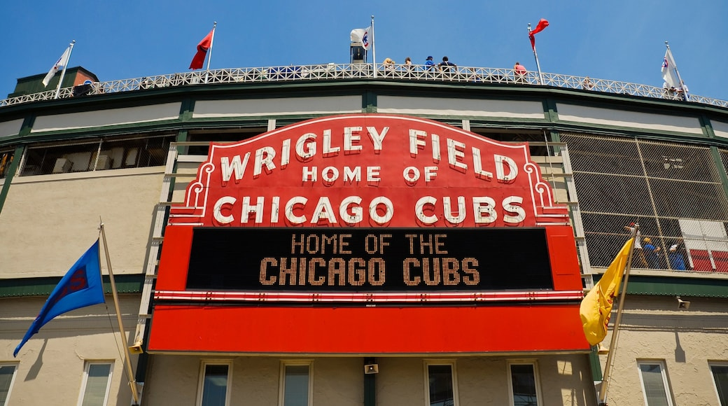 Wrigley Field showing signage