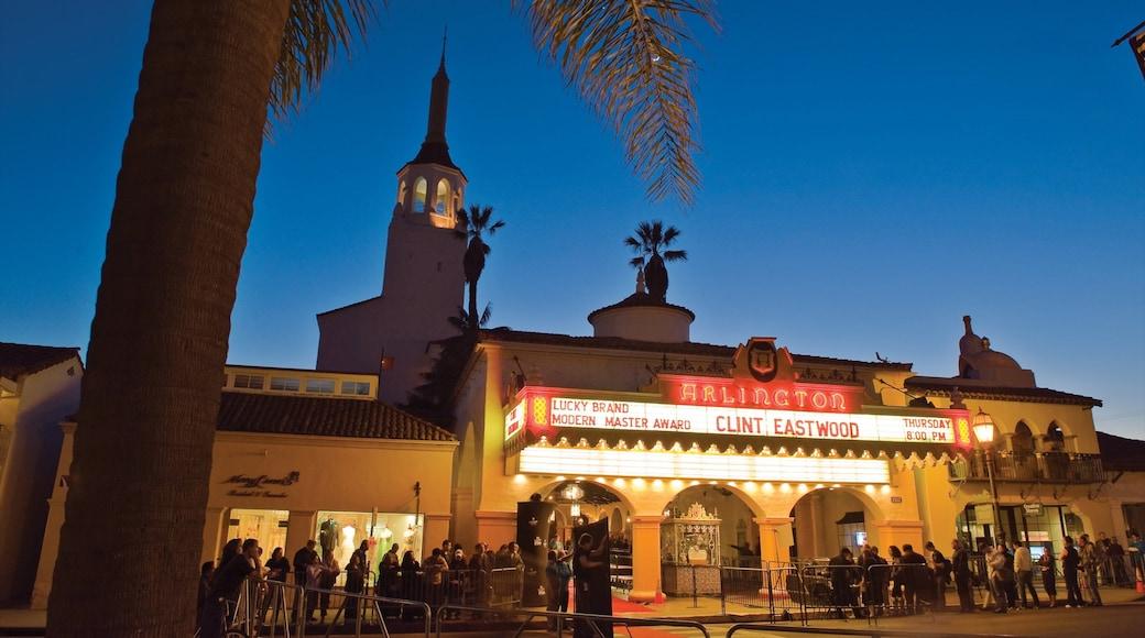 Santa Barbara featuring night scenes, theatre scenes and signage