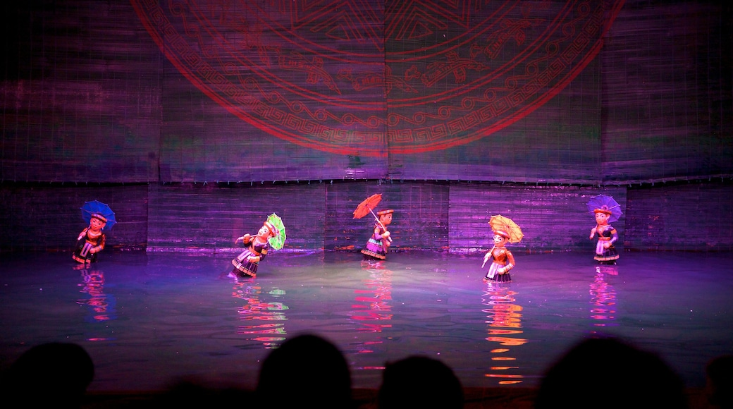 Thang Long Water Puppet Theatre showing performance art, interior views and theater scenes