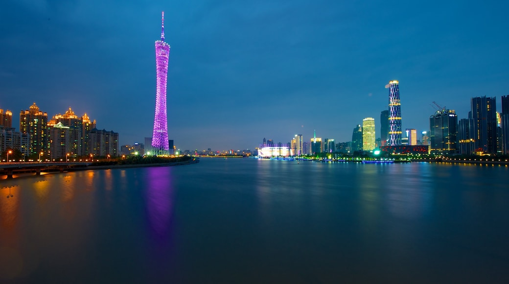 Canton Tower which includes a city, night scenes and cbd
