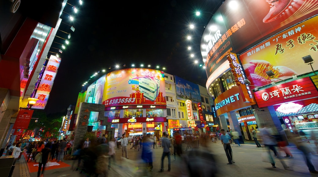 Beijing Road Pedestrian Street showing nightlife, shopping and a city