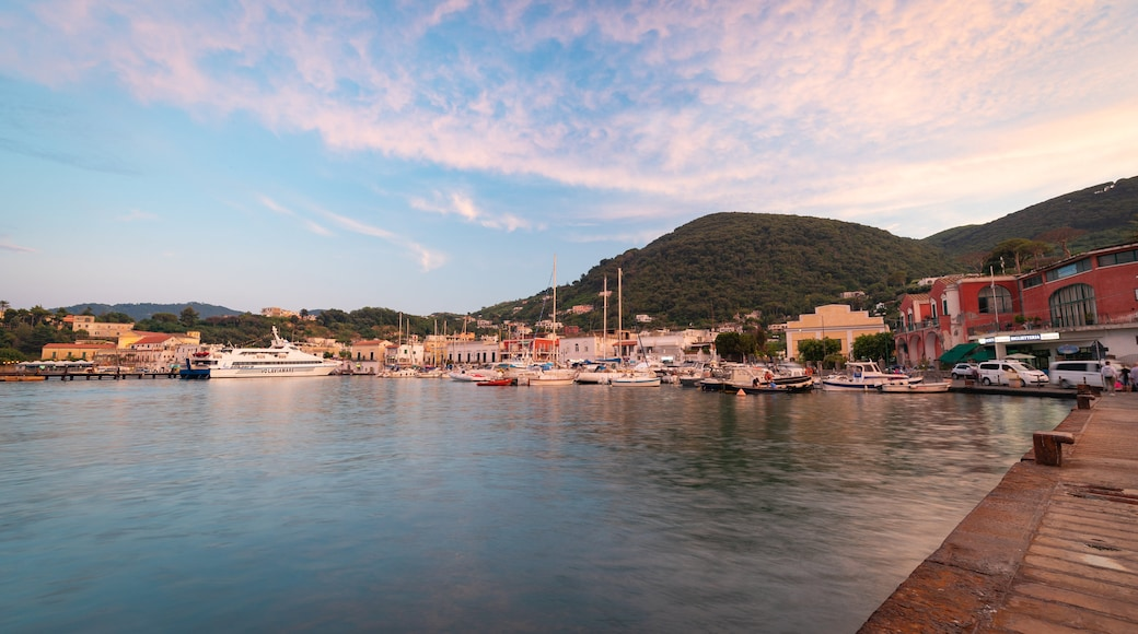 Ischia Port which includes a bay or harbor and a sunset