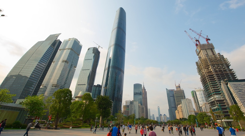 Guangzhou showing a high rise building, modern architecture and a square or plaza