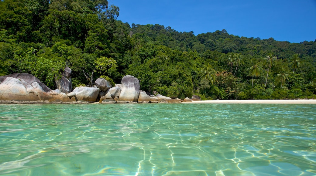 Pulau Perhentian Besar which includes a sandy beach and landscape views