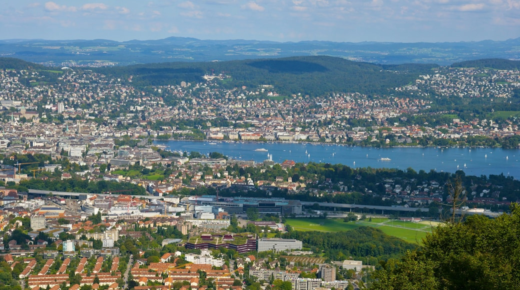 Lago de Zurique caracterizando paisagens litorâneas e uma cidade