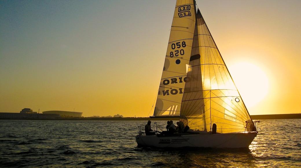 Victoria and Alfred Waterfront ofreciendo paseos en lancha, una marina y vistas generales de la costa