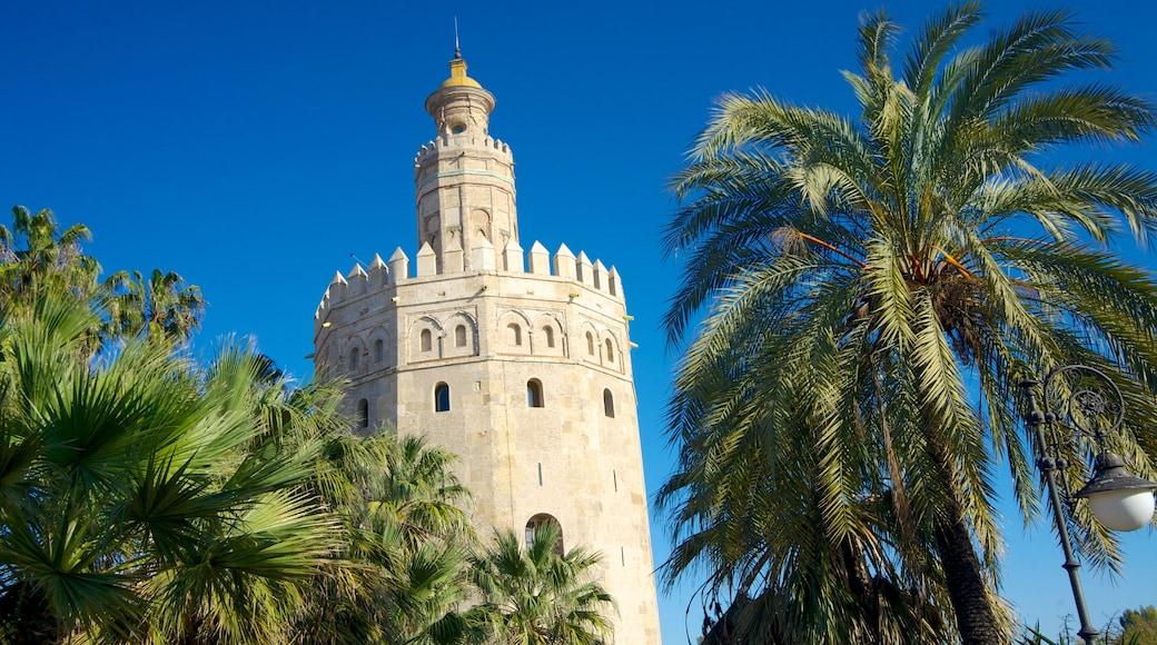 Sevilla que incluye arquitectura patrimonial, palacio y vistas