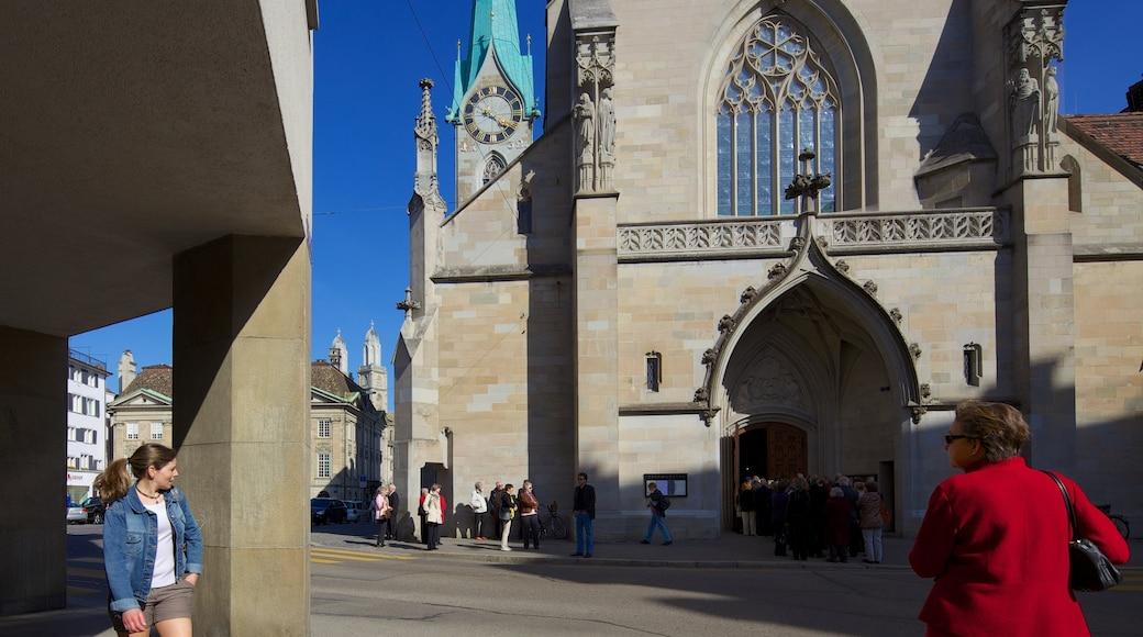 Fraumünsterin kirkko featuring kaupunki, uskonnolliset aiheet ja kirkko tai katedraali