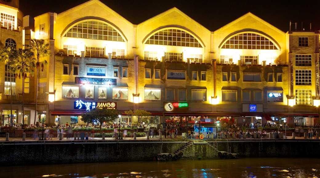Clarke Quay which includes nightlife and night scenes
