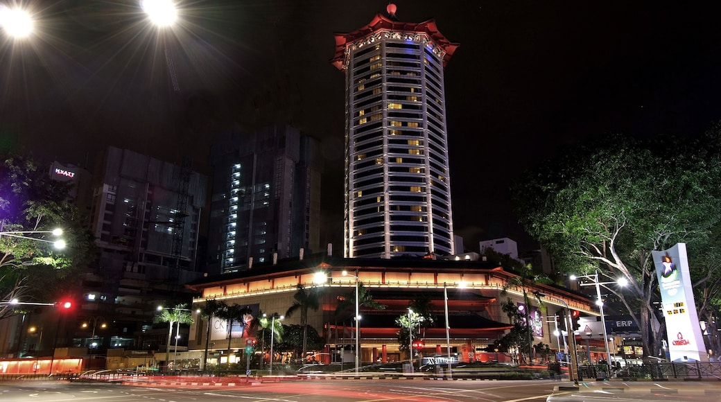 Orchard Road showing a city and night scenes