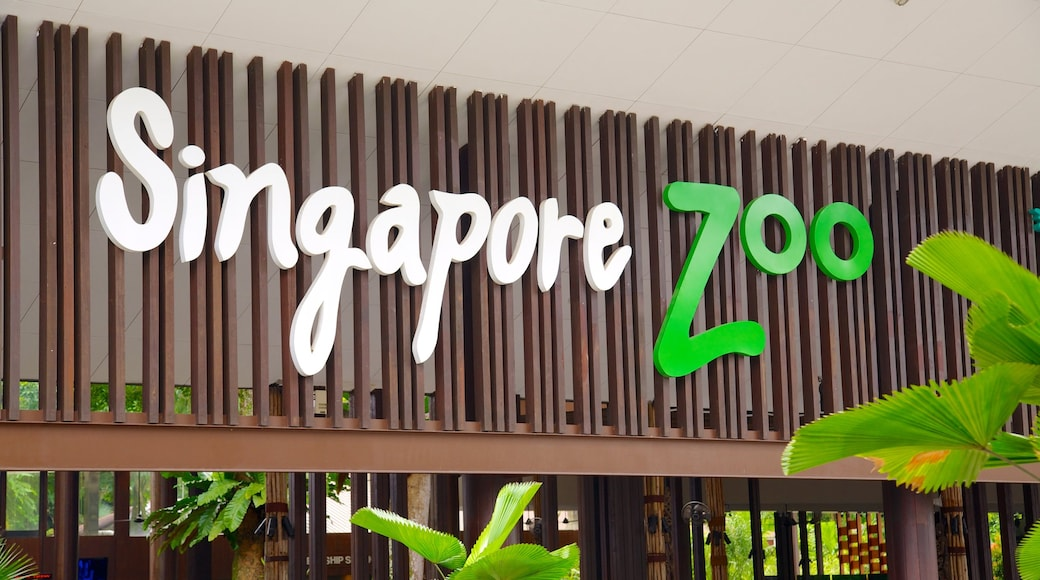 Singapore Zoo which includes zoo animals and signage