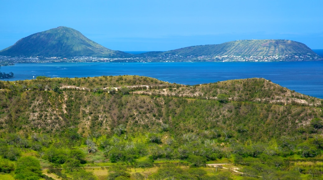 Diamond Head which includes landscape views, a bay or harbor and general coastal views
