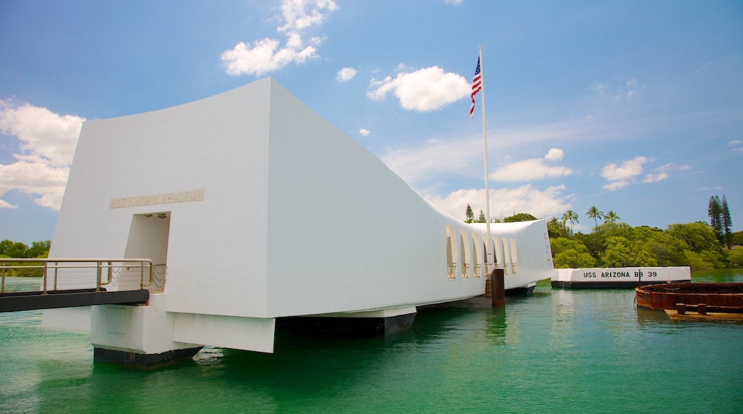 USS Arizona Memorial featuring a memorial and military items
