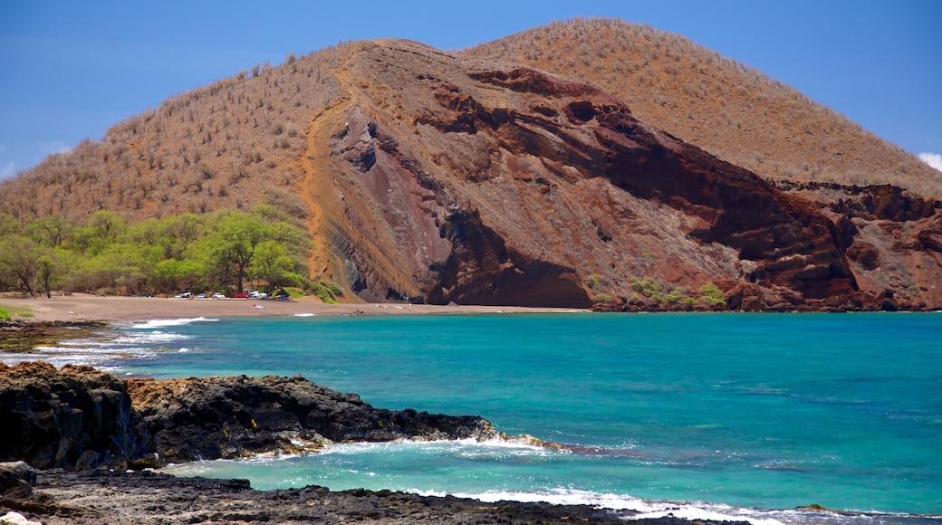 Maluaka Beach featuring mountains, landscape views and rugged coastline