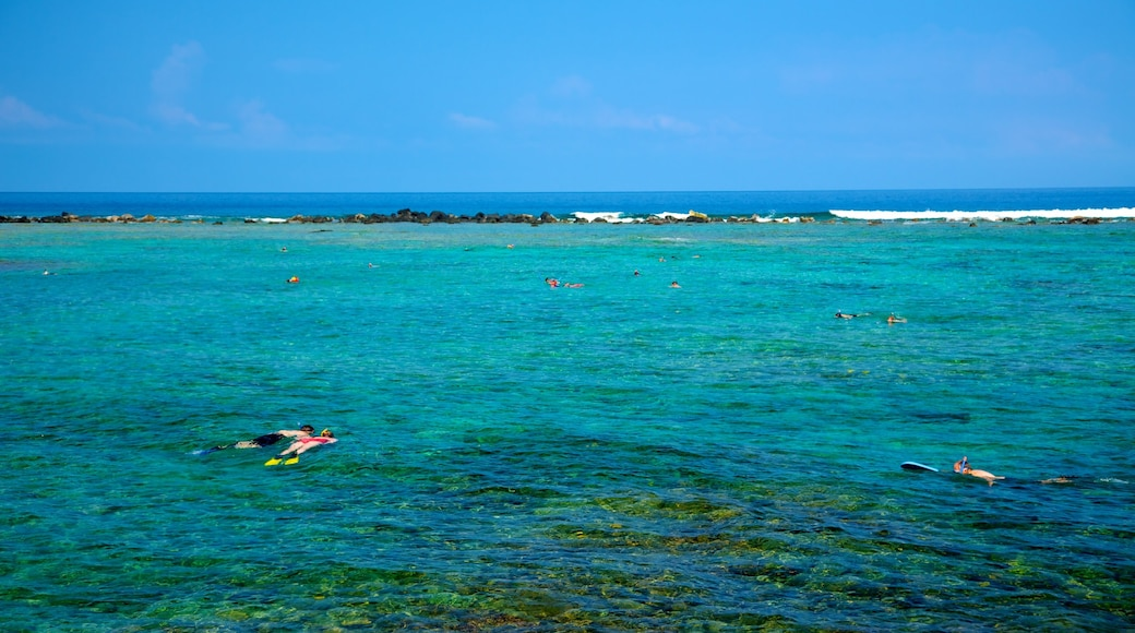 Kahalu\'u Beach Park featuring landscape views, colourful reefs and snorkelling