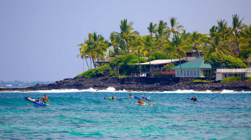 Kahalu\'u Beach Park which includes a coastal town, waves and surfing