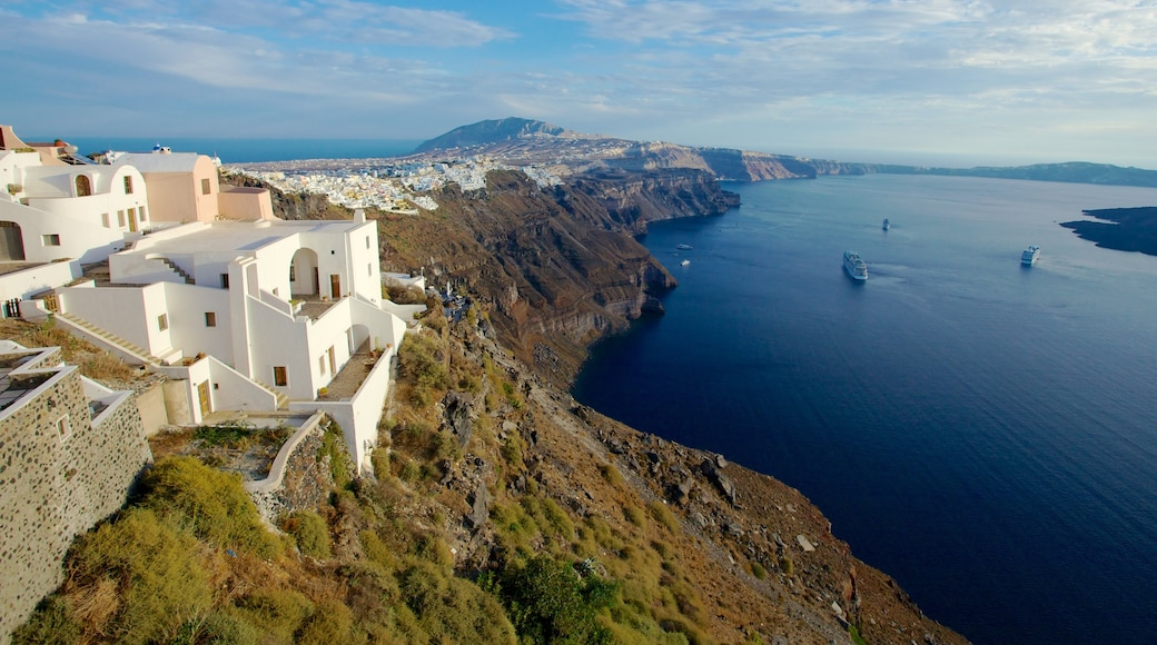 Fira which includes a house, general coastal views and a coastal town