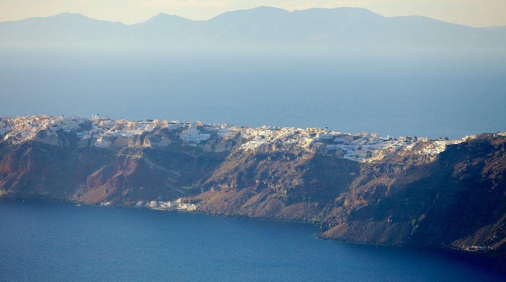 Fira which includes mountains, general coastal views and landscape views
