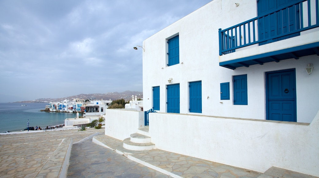 Mykonos Town showing a house, a coastal town and general coastal views