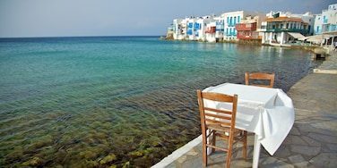 Mykonos Town featuring general coastal views, heritage architecture and a coastal town