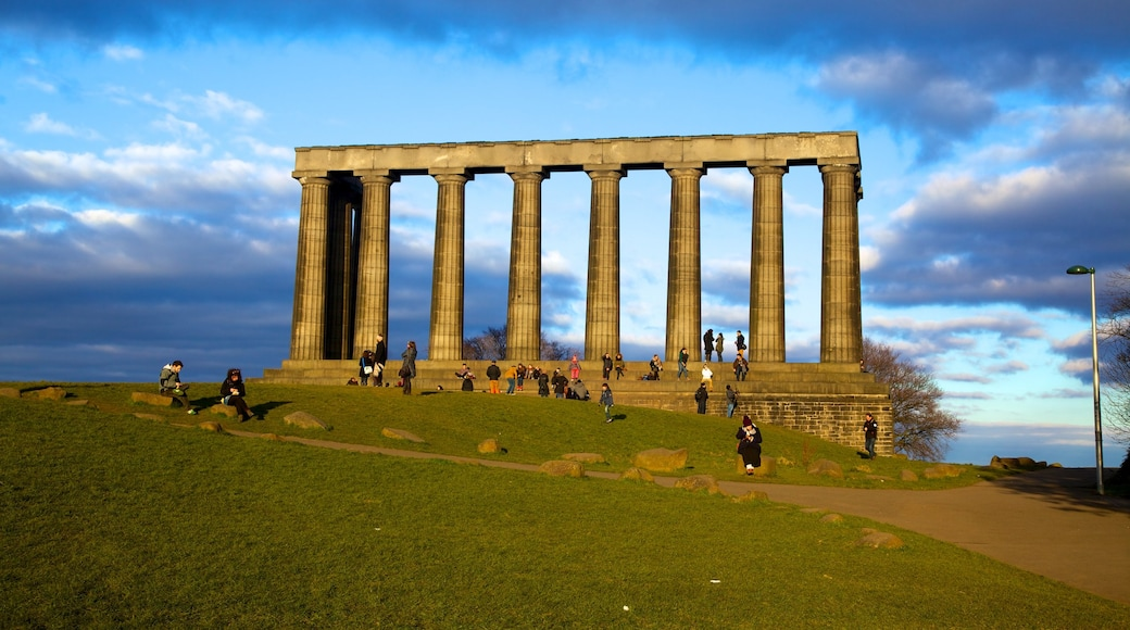 Calton Hill which includes heritage architecture, a monument and hiking or walking