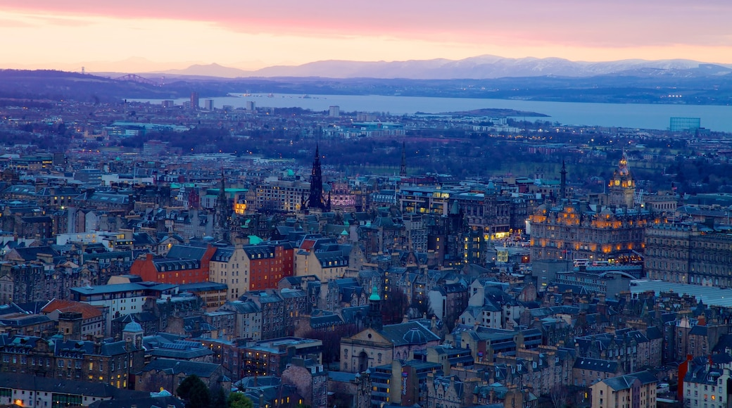 Arthur\'s Seat featuring a city and a sunset