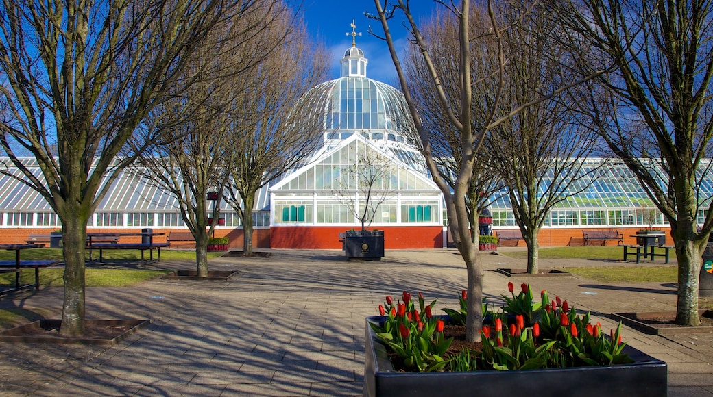 Queen\'s Park featuring heritage architecture, a garden and flowers