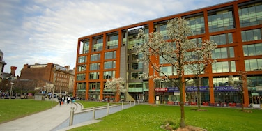 Piccadilly Gardens featuring a park, a city and modern architecture