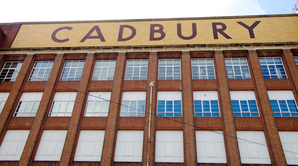 Cadbury World showing heritage architecture, city views and signage