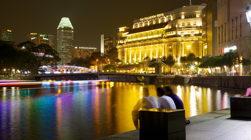 Boat Quay featuring street scenes, night scenes and a bridge