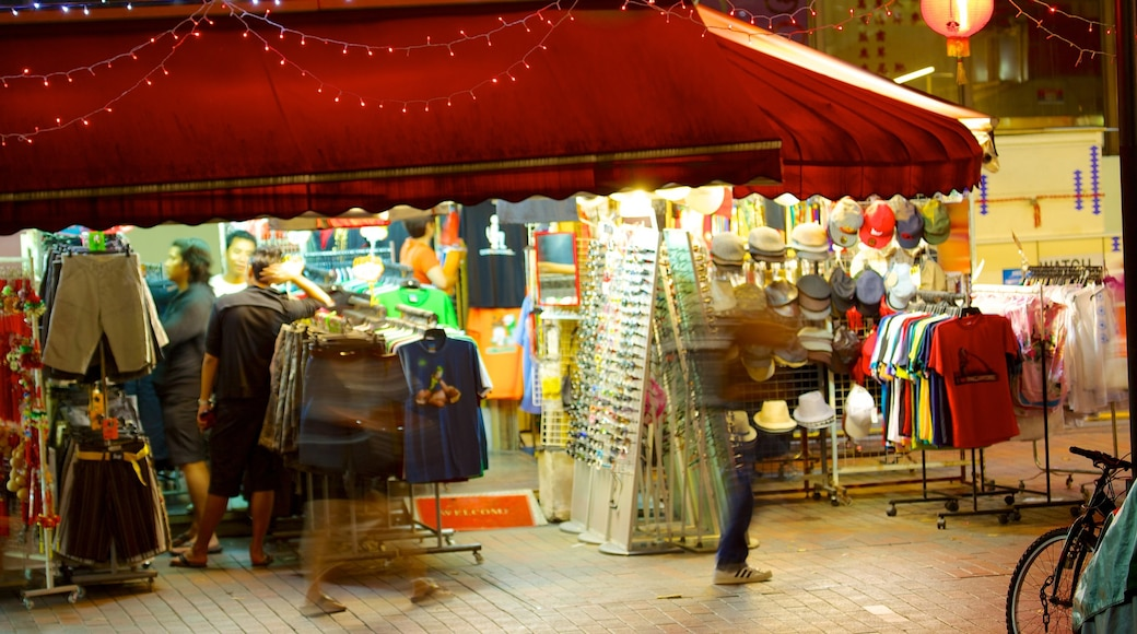 Bugis Street Shopping District which includes street scenes, night scenes and shopping