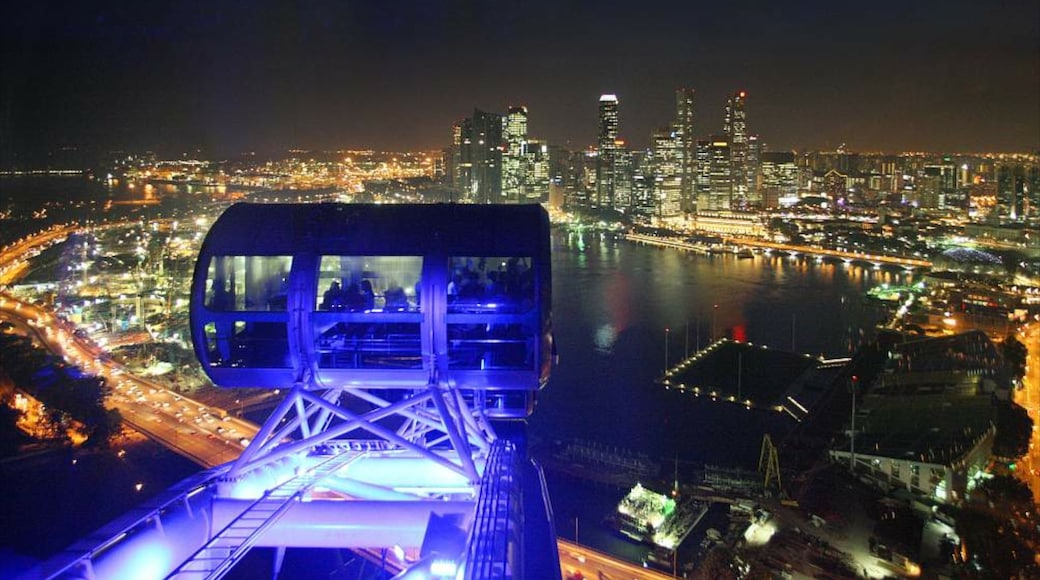 Singapore Flyer featuring a bay or harbour, modern architecture and rides