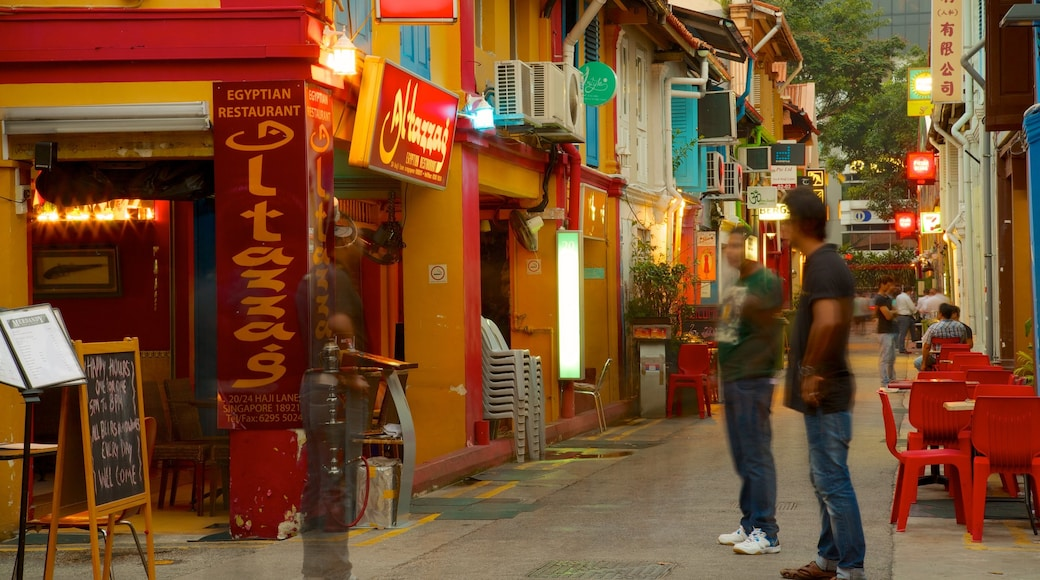 Haji Lane showing signage, street scenes and a city