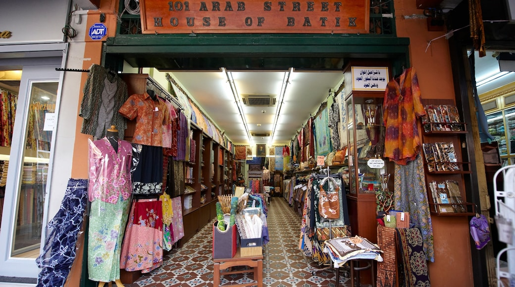 Arab Street District which includes a city, shopping and street scenes
