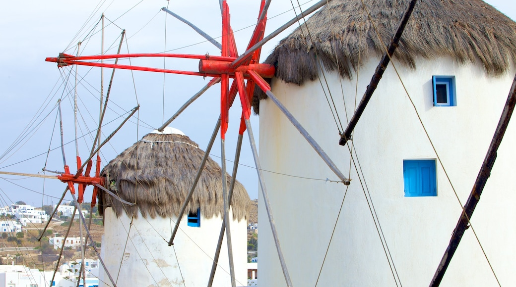 Windmills of Mykonos showing heritage architecture and a windmill