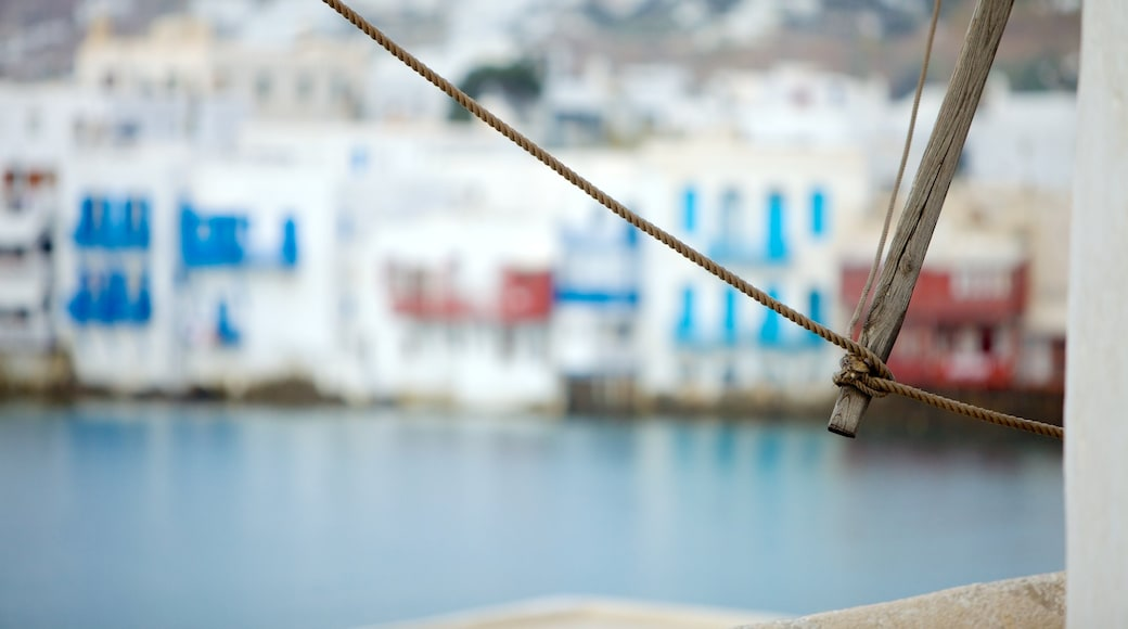 Windmills of Mykonos featuring general coastal views, heritage architecture and a coastal town
