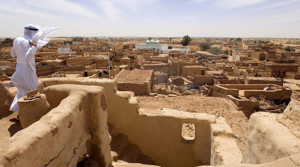 Kairo mit einem Wüstenblick und historische Architektur sowie einzelner Mann