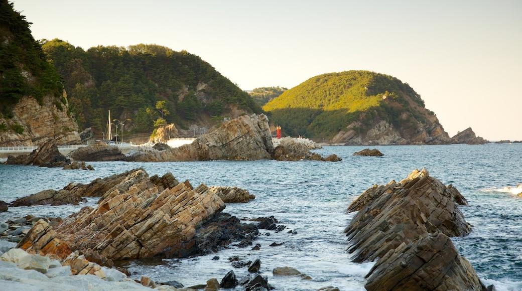 강릉 이 포함 암석 해안선 과 풍경