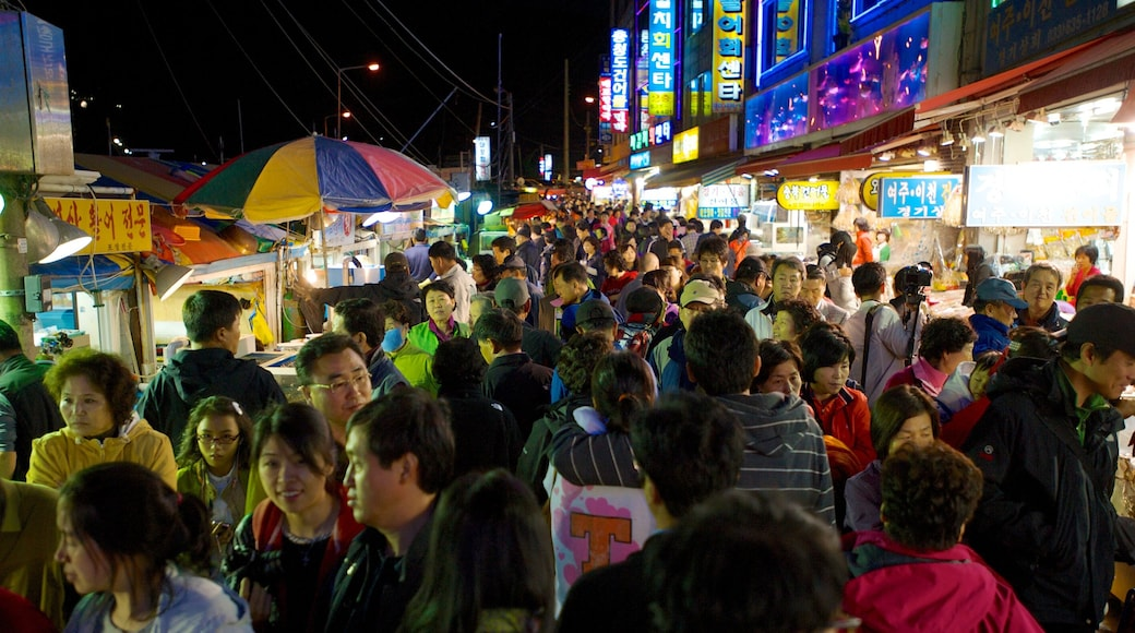 Sokcho which includes street scenes, a city and night scenes